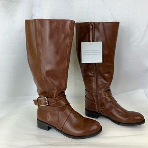 Life Stride Brown Boots Size 6.5M WIDE Calf NEW